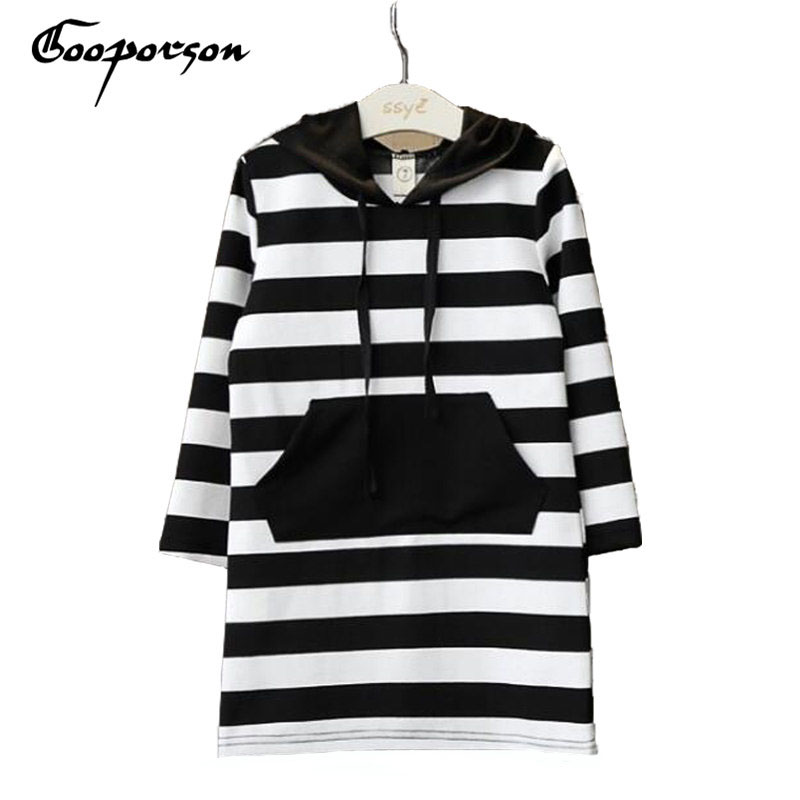 Ropa para niños Marca de primavera Negro con rayas blancas de manga larga con capucha vestido de las vírgenes para las niñas Ropa de los niños traje lindo