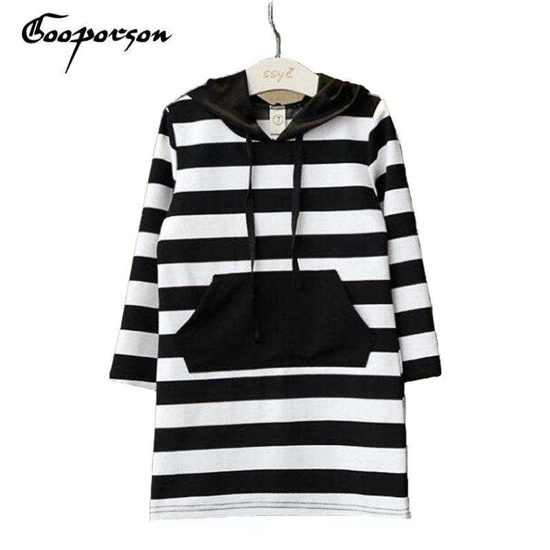 Children Clothing Spring Brand Black White Striped Long Sleeve Hooded Virgins Dress For Girls Kids Clothing Cute Outfit недорго, оригинальная цена