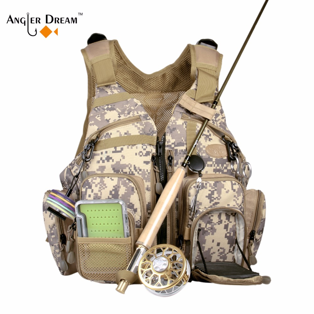 Angler Dream Fly Fishing Vest Adjustable Quick Dry Safty Mesh Multi Pockets Fly Fishing Backpack Sports Outdoor Vest outdoor sports pockets sv012199