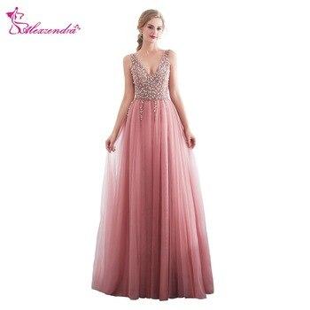 Alexzendra Readt to Ship Double V Neck Beads Crystal Side Slit Formal Evening Dress Party Dresses Prom Dress Customize