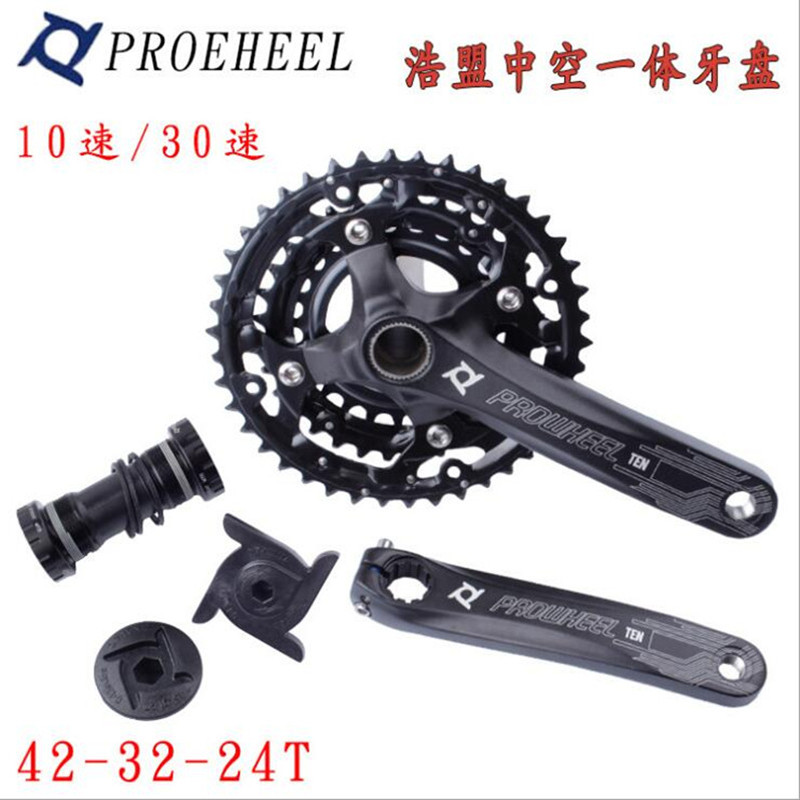 Q806 Free shipping mountain bike aluminum alloy hollow tooth plate 10 speed 30 speed 42T tooth plate Bicycle Crank & Chainwheel mountain bike crank set bicycle crank set sprocket 22 32 44t bicycle crank set hollow tooth plate 9 27 speed tooth plate