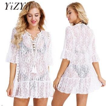 0c08fa640 YiZYiF Sexy Vestido de playa mujeres saida de praia encaje suelto vestido de  verano ropa de playa Pareo vestido de malla ropa de playa traje de baño
