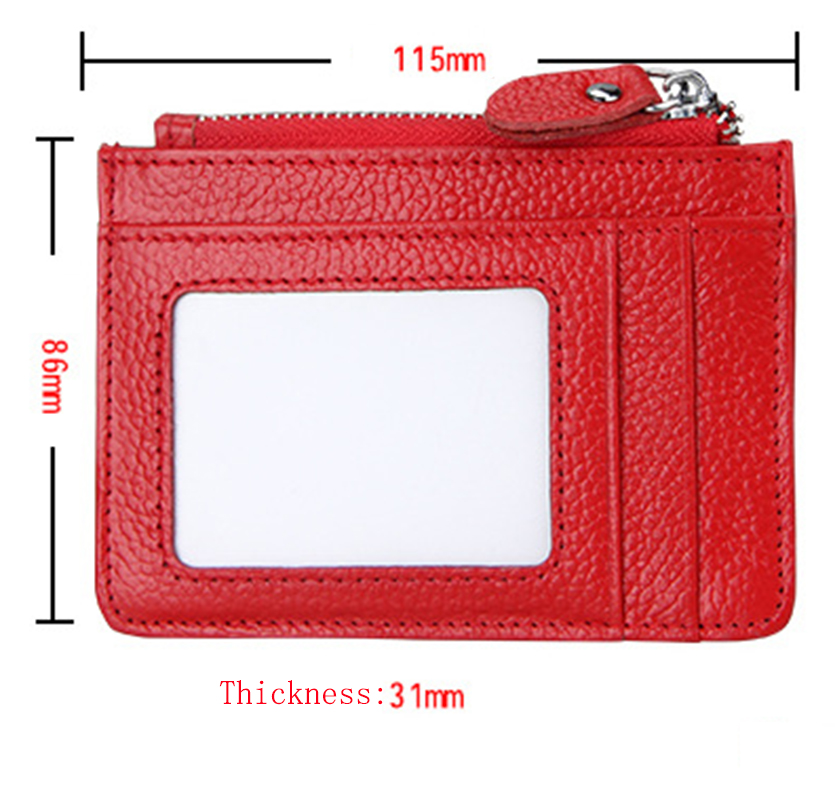 RFID Anti-Theft Brush Genuine Leather Zipper Card Wallet With Key ring