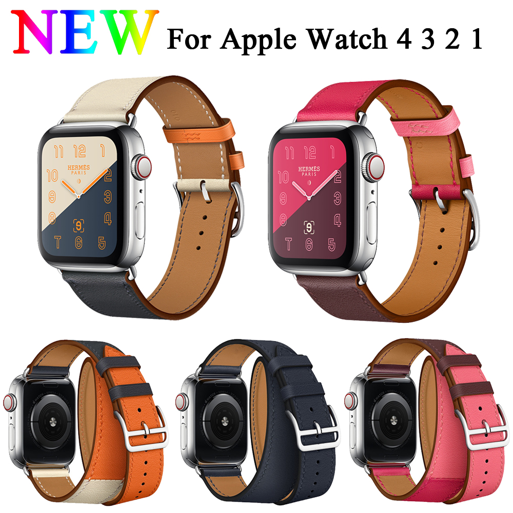 EIMO Single tour strap for apple watch series 4 44mm 40mm iwatch 4/3/2/1 42mm 38mm Genuine Leather wrist Belt bracelet watchband цена