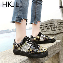 HKJL Fashion Ladies casual shoes ladies 2019 new all-in-one lace-up rivet flat single A564