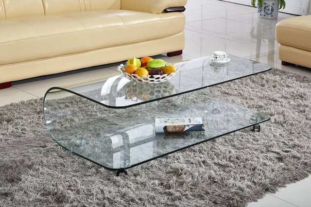 Tempered Glass Coffee Table Rectangular Living Room Full Green - Rectangular glass side table
