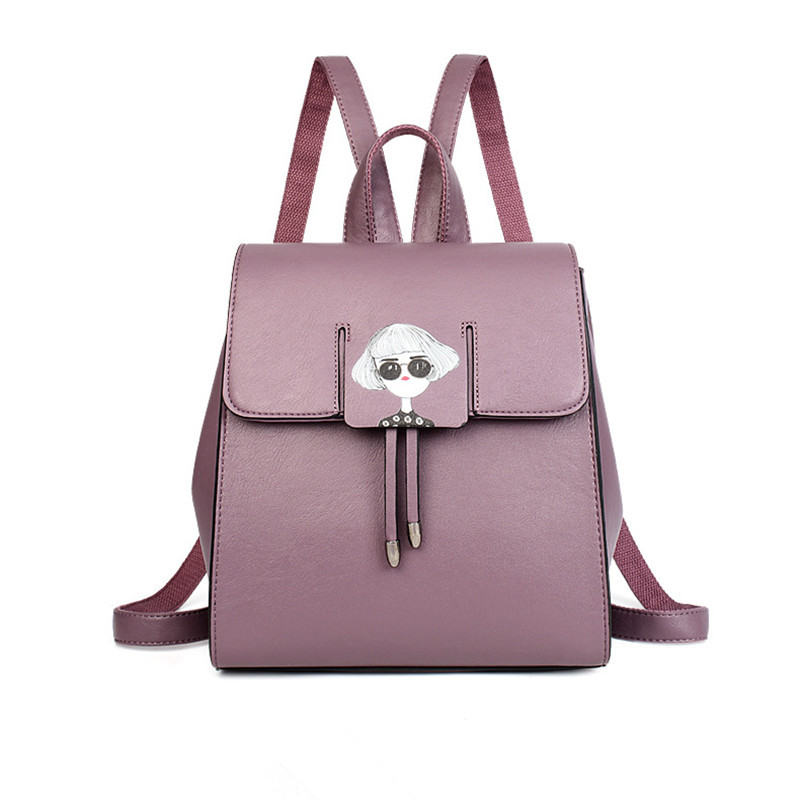 cute Women Backpack Leather 2018 New Cartoon Shoulder Bag School Teenagers Bags Casual Preppy Style Backpacks 5e4134 students 16 inch laptop backpack women oxford shoulder bag school computer travel backpacks preppy style bags for teenagers