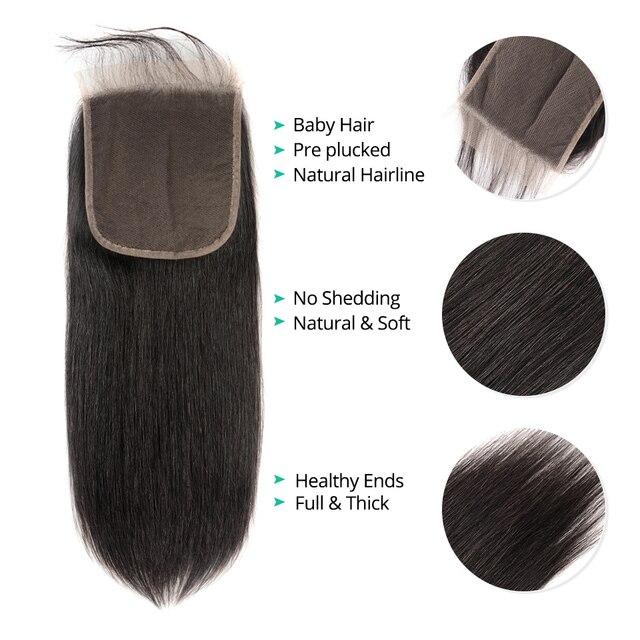Asteria brazylijskie pasma prostych włosów z zamknięciem 6x6 ludzkich włosów 3 wiązki z zamknięcie koronki naturalne kolorowe włosy typu remy