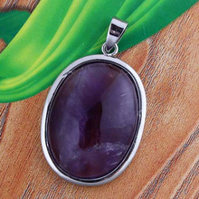 wholesale 10Pcs Charm Amethyst Crystal Stone Elliptic Beads Pendant Jewelry For Necklace 32x24 mm
