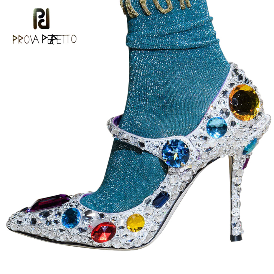 Prova Perfetto luxe strass haute hees chaussures de mariage femmes escarpins bout pointu talon aiguille cristal cendrillon chaussures grande taille-in Escarpins femme from Chaussures    1