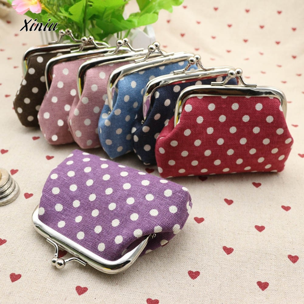 2016 Hot Sale Cheap Price Cute Women Ladies Small Mini Coin Purse Dots Print Hasp Wallet Card Holder Girls Handbag Bag casual weaving design card holder handbag hasp wallet for women
