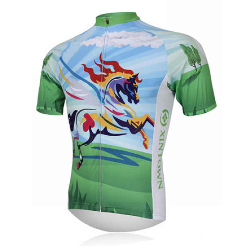 XINTOWN Cycling Jersey Bike shirt Rainbow Horse Short Sleeve top mtb Shirts Clothing Bicycle outdoor Sportwear roupa ciclismo
