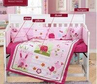 7ピース刺繍ベビーベッド寝具セットベビーベッド寝具セットピンクの花ベビー寝具