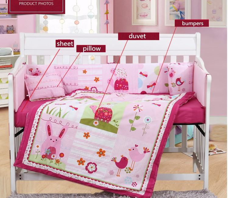 7PCS embroidery Cot bedding set Crib bedding set Pink flower Baby bedding,include(bumper+duvet+sheet+pillow) promotion 6pcs baby bedding set cot crib bedding set baby bed baby cot sets include 4bumpers sheet pillow