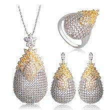 Blucome Copper White Cubic Zircon Jewelry Sets Gold Silver Two Tone Exquisite Wedding Bridal Pendant Necklace Brincos