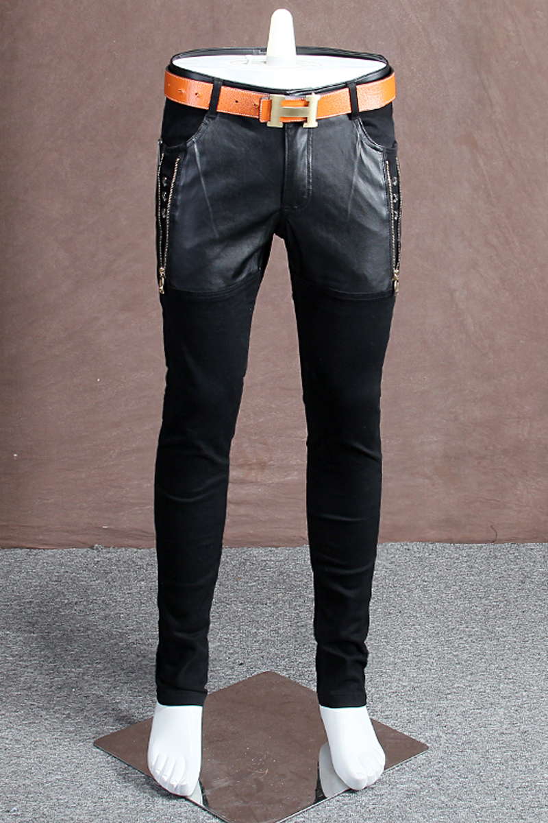 Autumn and winter section of fashion personality stitching jeans male Slim feet black denim trousers youth wave influx of men an