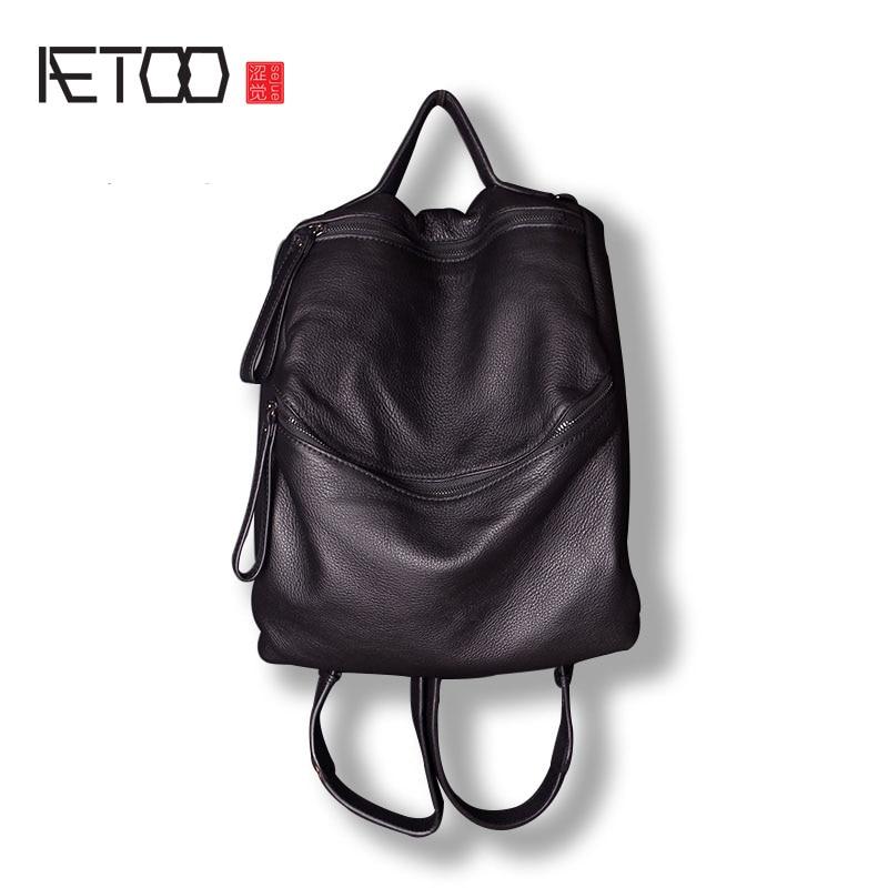 AETOO Shoulder Bag Headband Cowhide Backpack Neutral Soft Leather Individual Multi-functional Leather Bag aetoo leather shoulder bag men s leather backpack multi functional computer bag travel casual korean students bags