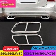 Capa de cano de escape para carro, para volvo s60 s90 xc60 xc90 v60 s60l s90l acessórios de aço inoxidável furos