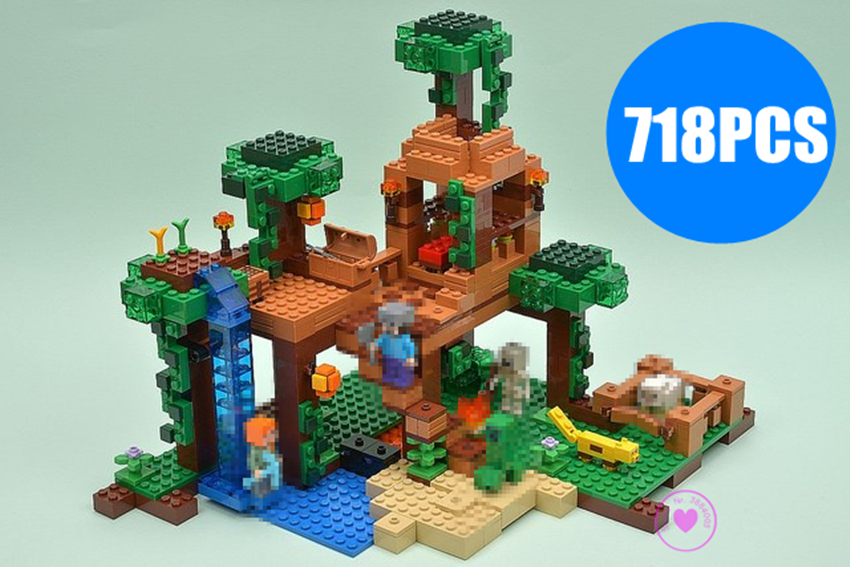 New legocean minecraft The Jungle Tree House city fit legoings minecraft figures city Building Blocks bricks kids boys gift Toys minecrafted building blocks toys bricks figures compatible legos minecraft friends city toys birthday gift for kids gift toys