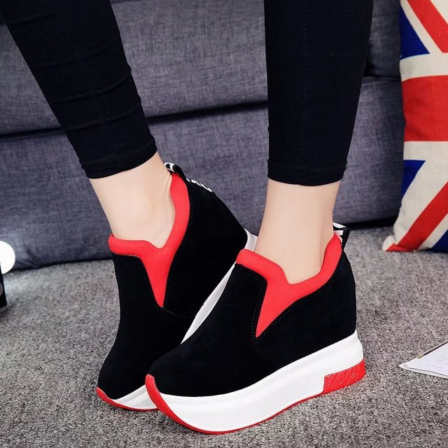 2018 mujeres aumentó zapatos mujer moda plataforma impreso zapatos Casual mujer cuñas zapatos transpirable negro rojo 35-39