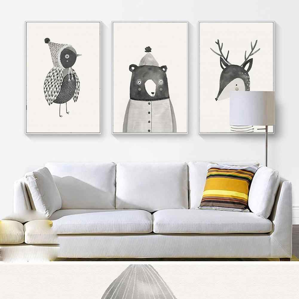 New Hot Decorative Nordic Cartoon Bird Bear Deer Canvas Painting Cafe Home Wall Poster