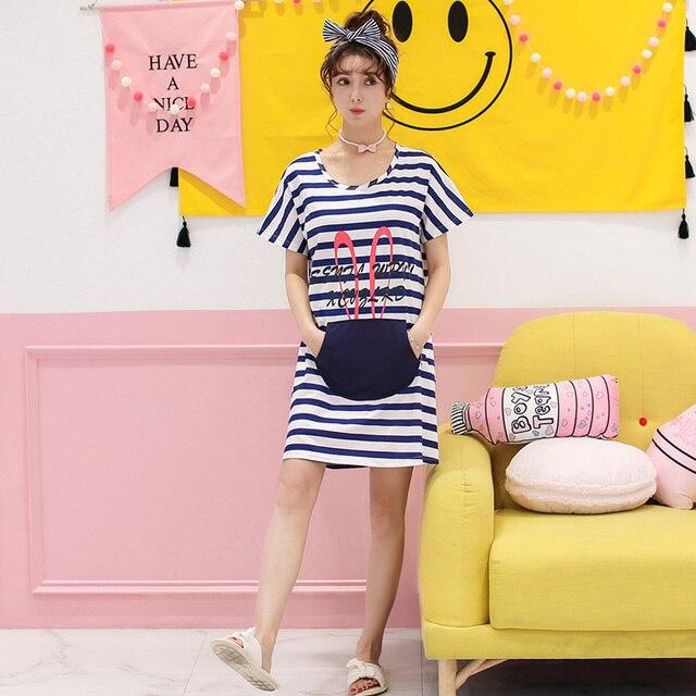Nueva Moda de Algodón de Manga Corta Camisa de Dormir De las Mujeres ropa de Dormir Flojo Cómodo Vestido de Rayas Lindo Homewear Ropa de Dormir de Verano Caliente