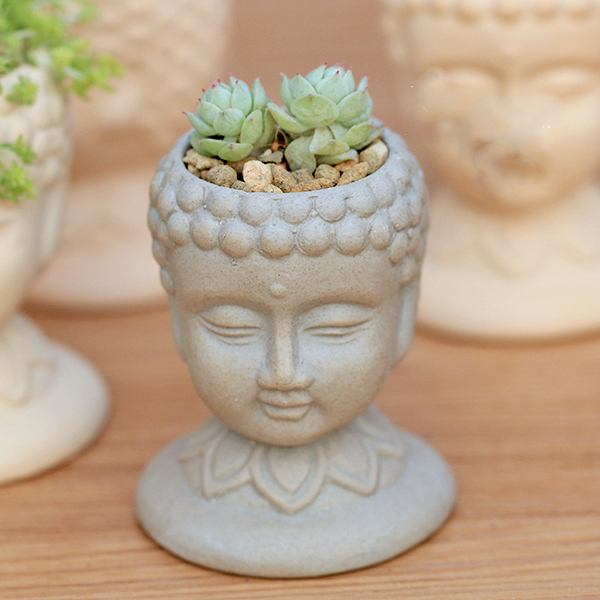 PRZY Silica gel silicone mold 3d vase molds cement planter mould Buddha head flower pots handemade mold