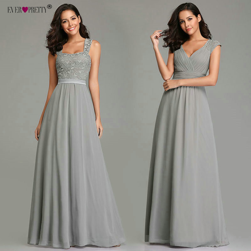 Grey Prom Dresses Long Ever Pretty EZ07704 Women's 2019 A-line Chiffon Lace Appliques Backless Sleeveless Sweetheart Party Gowns