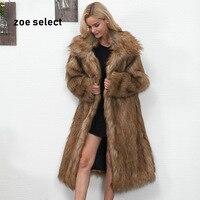 2018 Winter Women Plus Size Faux Fur Coat Long Slim Thicken Warm Hairy Jacket Women Fashion Warm Outwear Artificial Fur Coat