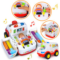 HOLA 836 Ambulance Doctor Vehicle Set 2 in 1 Baby Toys Pretend Doctor Set & Medical Kit Inside Bump & Go Toy Car with Lights