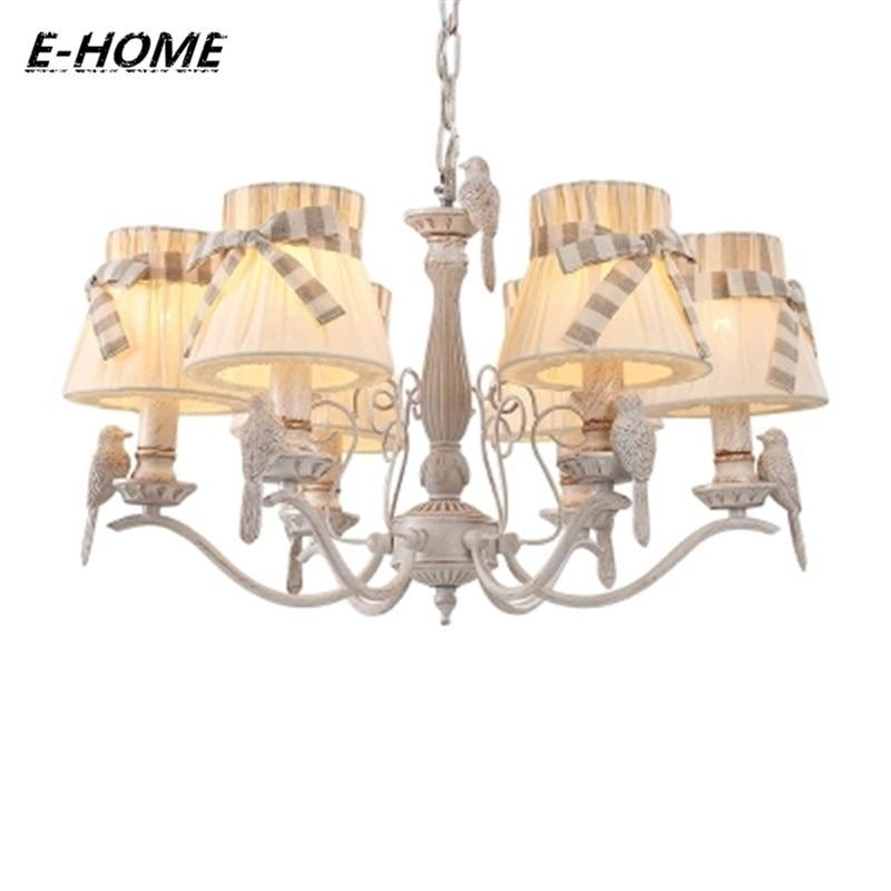 Creative detachable cloth shade 2017 new garden chandelier romantic French bird chandelier