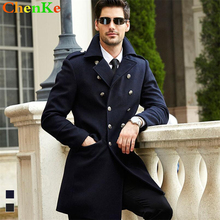 Brand 2016 Black Wool Blends High Quality Coat Men Double Breasted Pea Coat Jacket Manteau Homme