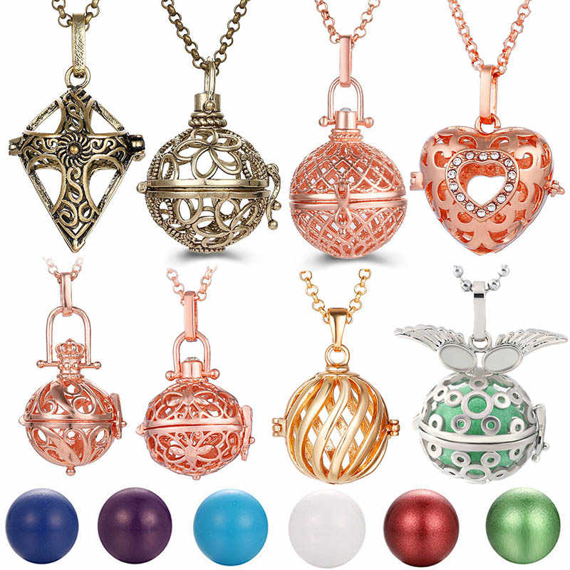 Mexico Chime Hollow Angel Wings Vintage Necklace Jewelry Music Ball Essential Oil Christ Cross Heart Style Pregnancy Necklace