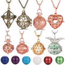 Mexico Chime Hollow Angel Wings Vintage Necklace Jewelry Music Ball Essential Oil Christ Cross Heart Style Pregnancy