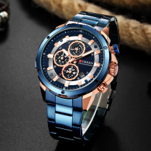 New Men Sports Chronograph Watch CURREN Luxury Black Blue Stainless Steel Wrist Quartz Watches Top Brand Business Calendar Clock купить недорого в Москве