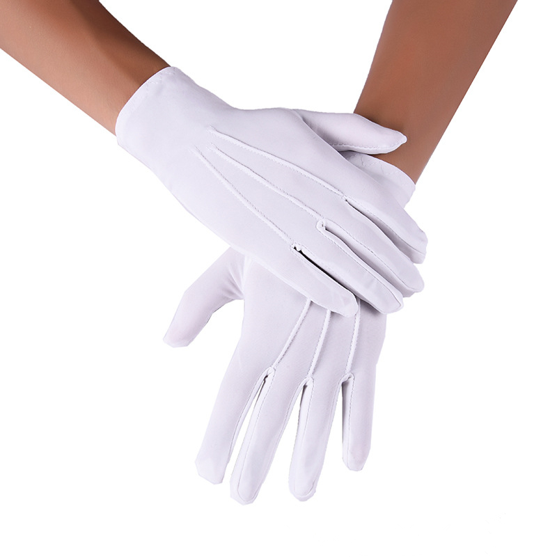 Fashion 3 Line Men's Thin Spandex Gloves Short Black / White Stretch Wrist Gloves Full Finger Daily Wear Cycling Gloves Luvas