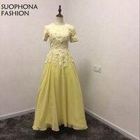 New Arrival Vàng Short sleeve Evening dresses 2018 Ren Đính Cườm Ả Rập Evening dress Kaftan Formal dress Vestido de festa