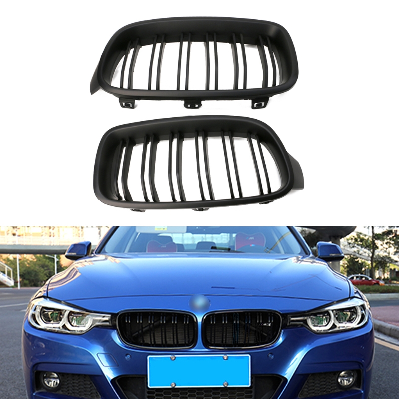 1Pair Gloss Black Front Kidney Grille for BMW F30 3-Series Sedan//Wagon 2012-2016