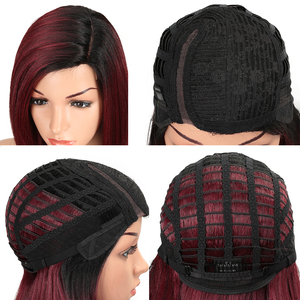 Image 5 - MAGIC Lace Front Synthetic Wigs For Black Women Middle Long 24 Soft Ombre Red Wig With Dark Roots Wavy Heat Resistant Fiber Hair