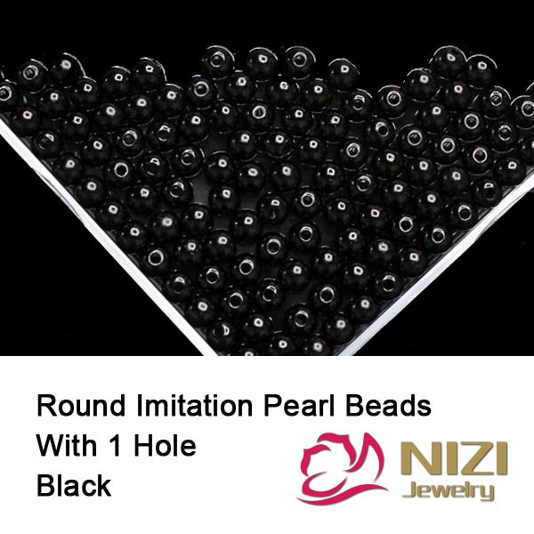 Black Resin Round Pearl Beads With Hole 100g/bag Perfect For DIY Decoration Many Sizes Imitation Pearl Beads For Craft Art new resin pearl beads 6mm 8mm 10mm resin round dark coffee imitation pearl beads with hole 100g bag perfect for diy decoration