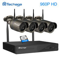 Techage 960P 1 3MP Wireless CCTV System 4ch 1080P HD Wifi NVR Bullet CCTV IP Camera