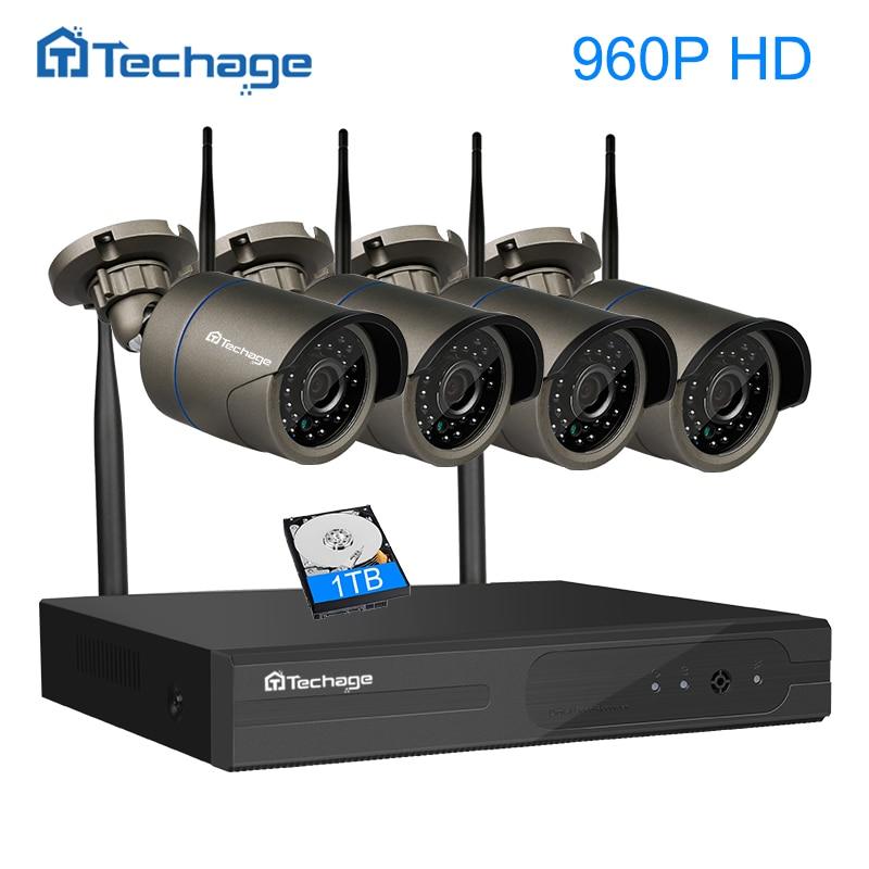 Techage 960P 1.3MP Wifi CCTV System 4ch 1080P HD Wireless NVR Bullet CCTV IP Camera Home Security Surveillance Kit P2P APP View