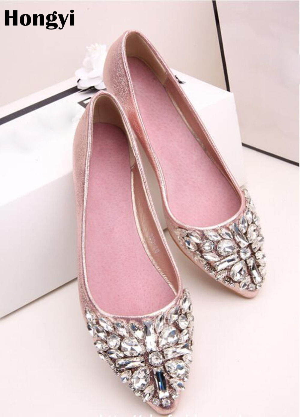 5b68f822b Hongyi New Cheap Price Pu leather pointed toe Rhinestone shoes women  comfortable Crystal flats Loafers Daily Casual Shoes