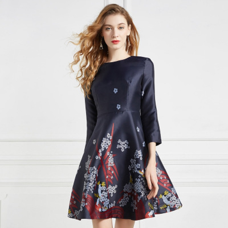Runway 2018 new print office ladies Floral dress A Line spring Autumn Clothing party Women Vintage Christmas Slim Empire dresses