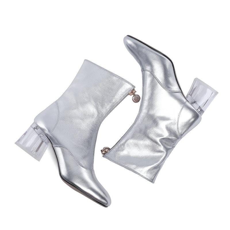 Mode 42 Salu Chaussures Dames 11 2018 Cheville La Automne En Cuir Nouveau argent Matin Femmes Véritable De Zipper Plus Taille Printemps Rose Bottes fb76gYy