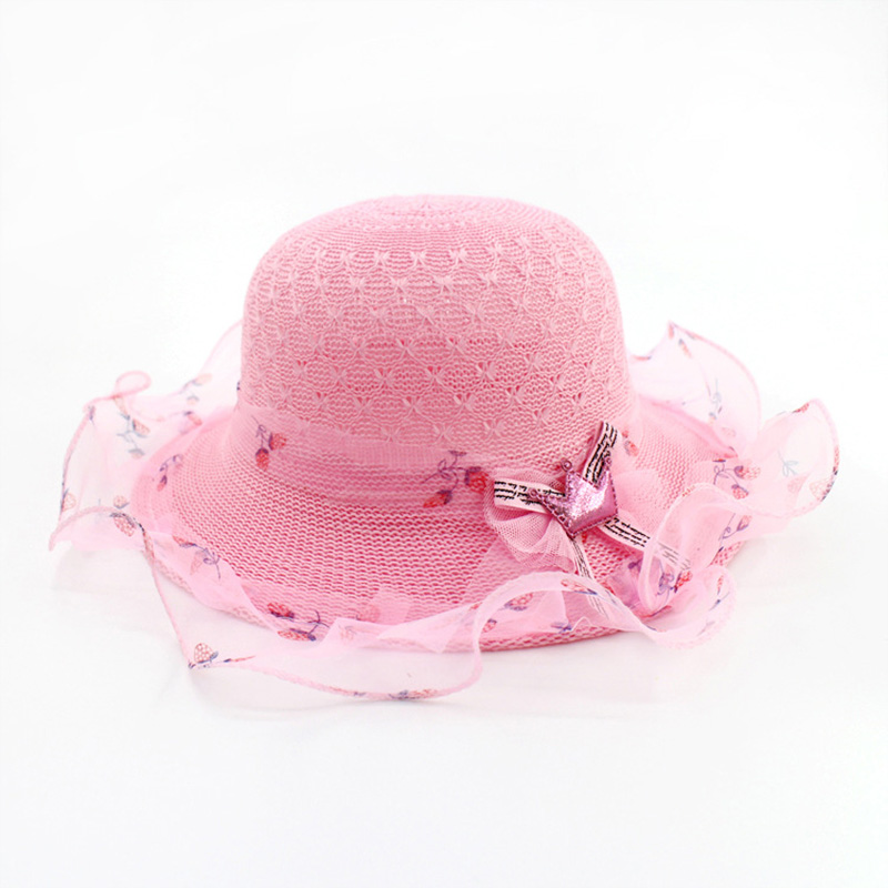 3-10 Years Old Children's Summer Sun Shade Sunscreen Travel Beach Hat Baby Girl Cute Cartoon Crown Flower Warp Straw Lace Cap U2