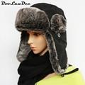 BooLawDee зима бомбардировщик hat для взрослый мужской мужчины женщины хлопок плюс искусственного меха с ушами 57 59 61 63 см черный 4A415