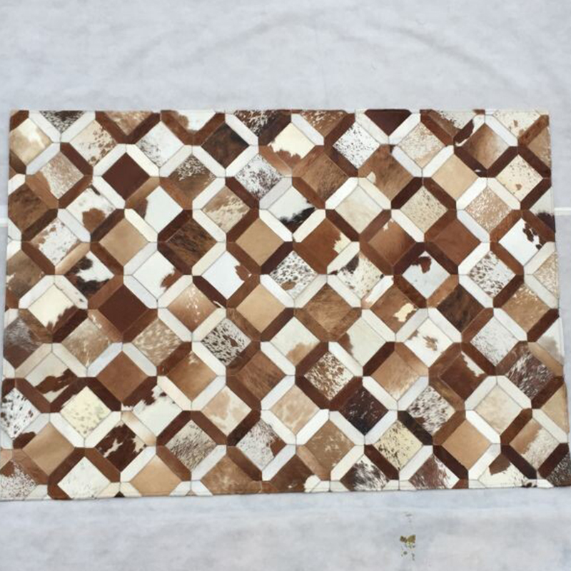 Modern Nature Rug: Contemporary Natural Cowhide Leather Hides Patchwork Area