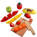 Preschool Pretend Play Kitchen Wooden Cutting Fruits/Vegetables Food Play Toy Set With a Cutting Board For Children/Kids