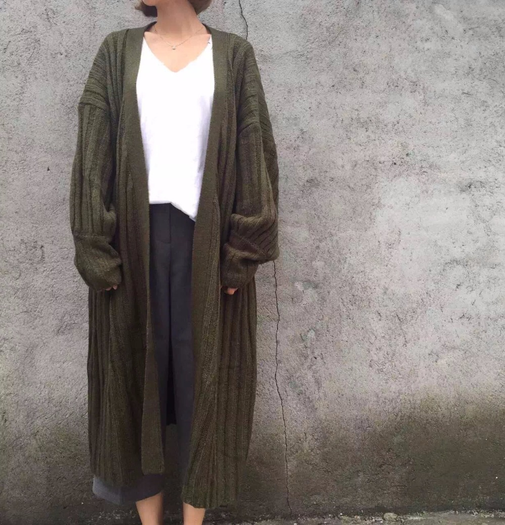 Spring autumn woman casual loose vintage maxi sweater coat ...